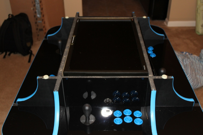 Completed cocktail arcade cabinet with the lid off