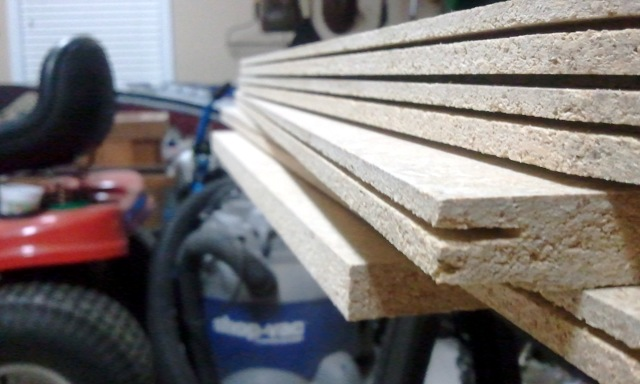 Stack of slotted boards