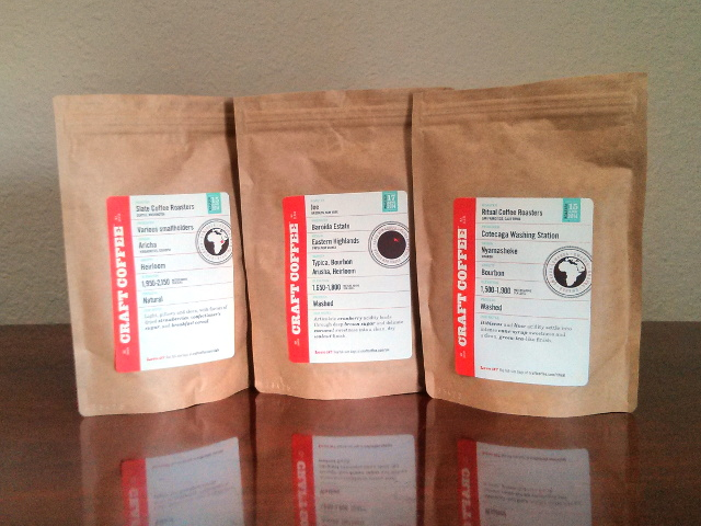 My first shipment from Craft Coffee