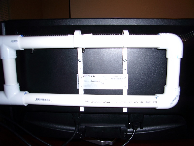 Monitor hanging on PVC J hook