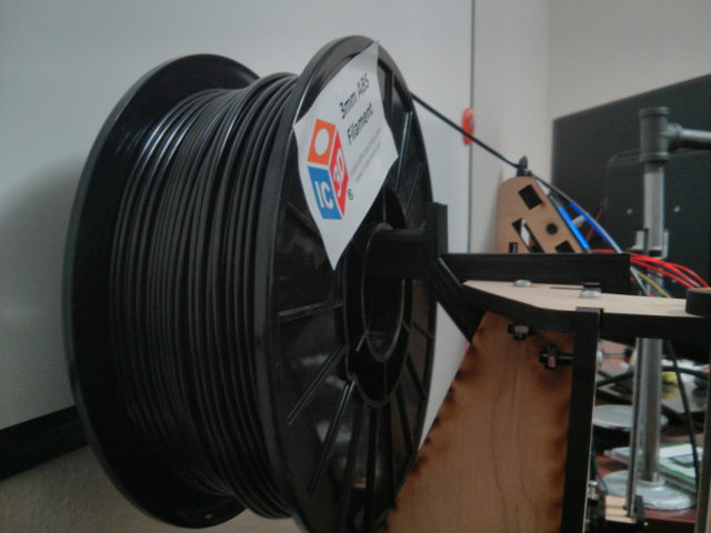 Close up showing the spool holder