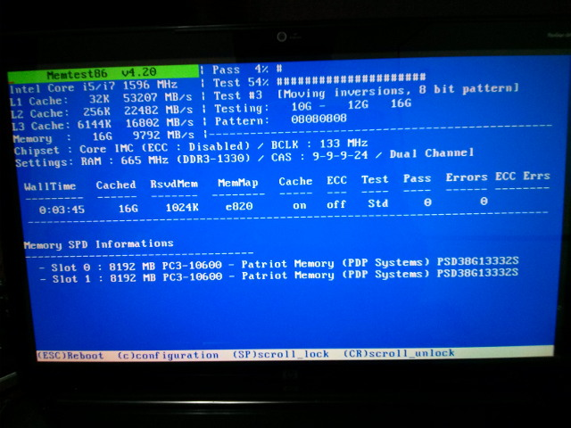memtest86+ showing all 16 GB