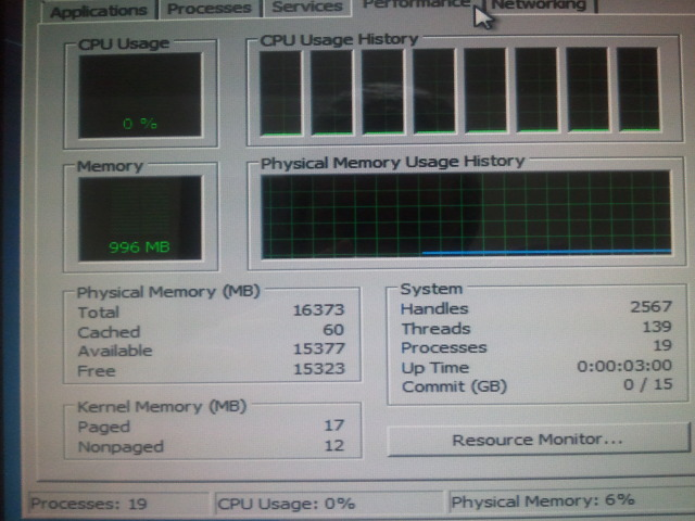 Windows 7 task manager showing 16 GB
