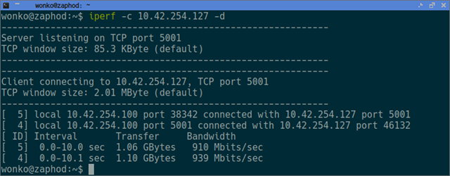 iperf gigabit test