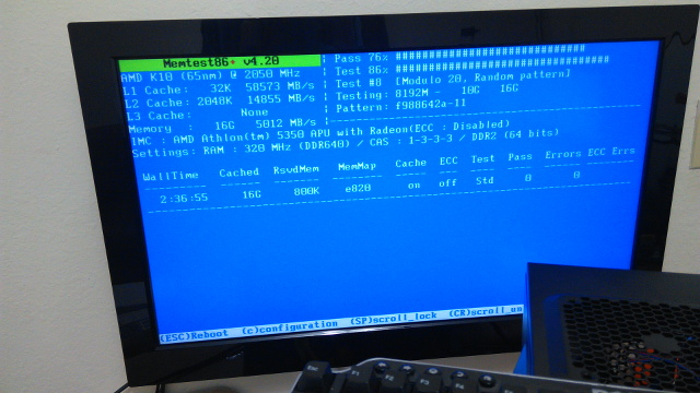 Memtest86+ Running On The Power Efficient Server