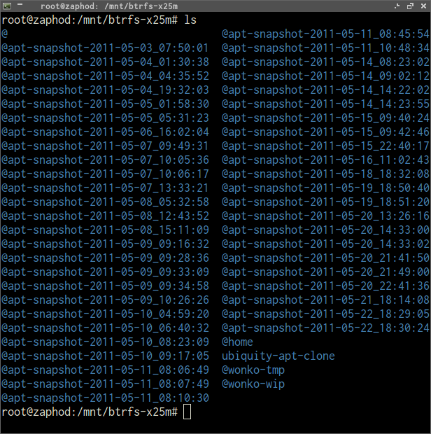 Screenshot of some btrfs snapshots