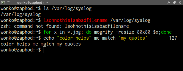 A screenshot of zsh-syntax-highlighting
